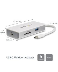 StarTech.com USB-C 4-in1 multiport adapter SD (UHS-II) kaartlezer 100W Power Delivery 4K HDMI GbE 1x USB 3.0