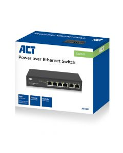 ACT AC4430 6-Poorts 10/100Mbps Switch   4x PoE+ poorten