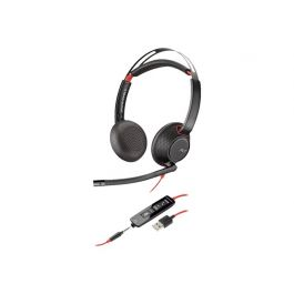 POLY Blackwire C5220 Headset Hoofdband Zwart, Rood 3,5mm-connector USB Type-A
