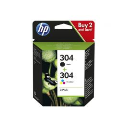 HP 304 originele zwarte/drie-kleuren inktcartridges, 2-pack